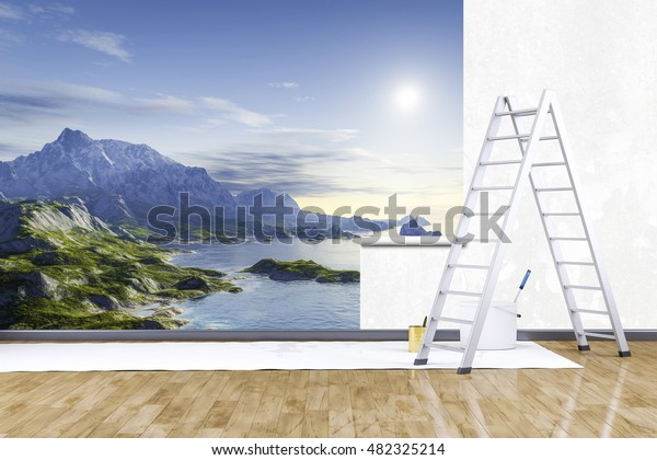 Room with a 3d photo mural nature scenery wallpaper