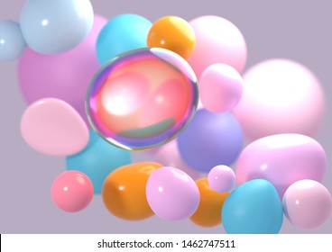 3D render / rendering of multicolored blobs. Abstract background.