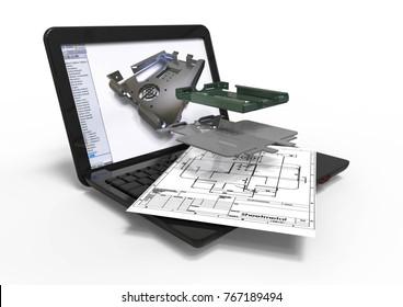 3D render representing an sheet metal design process.