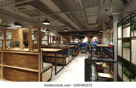 3d render of restaurant cafe