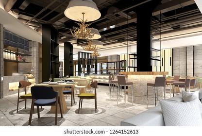 3d render of restaurant interior