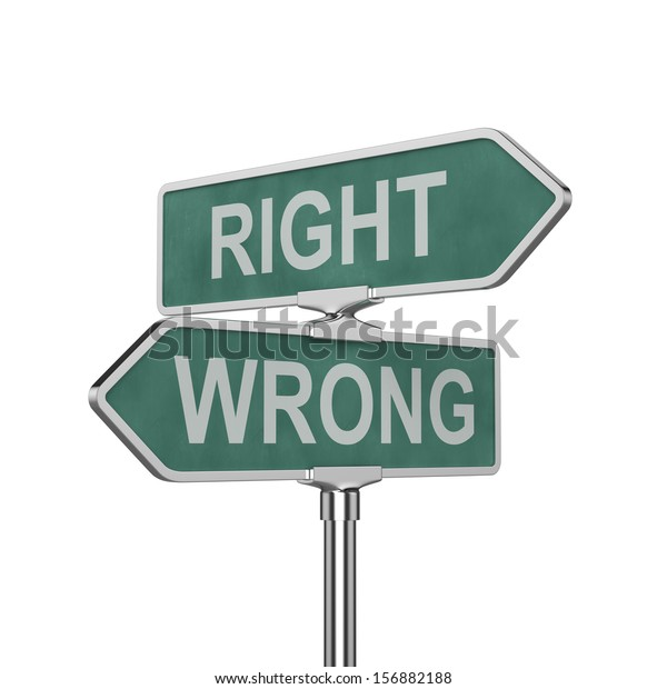 3d render of right and wrong concept roadsign board isolated on white background