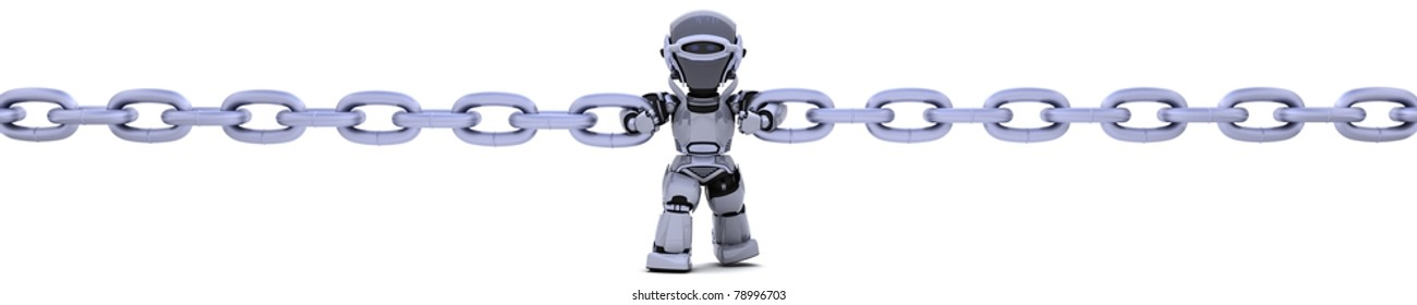 3D render of a robot holding a chain