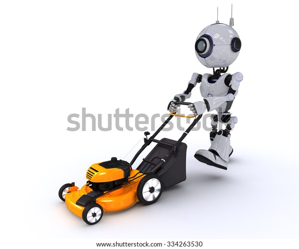 3D Render of a Robot with lawn mower