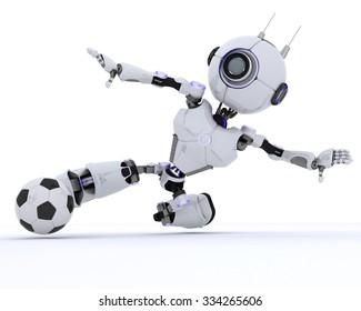 3D Render of a Robot playing football