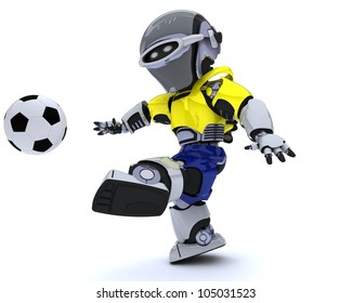 3D render of a Robot playing soccer