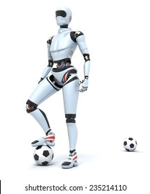 3D render of a robot playing soccer . Clipping path included