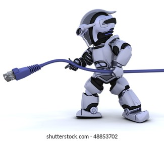 3D render of a robot with RJ45 cable