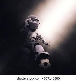 3D render of a robot with a soccer or football