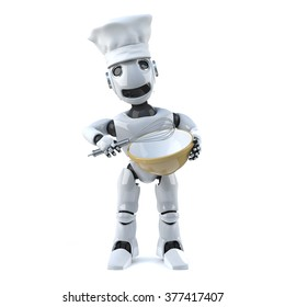 3d render of a robot wearing a chefs hat and holding a whisk and mixing bowl