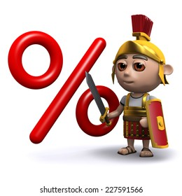 3d render of a Roman soldier next to an interest rate symbol