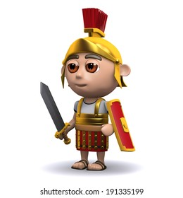 3d render of a Roman soldier with sword drawn