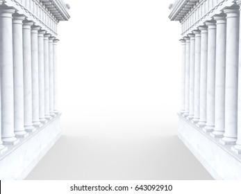 3d render of roman-style column portal on a white background