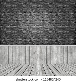 3D render of a room interior with grunge brick wall and wooden floor