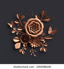 3d render, rose gold paper flowers, copper metallic rose, floral bouquet isolated on black background, botanical decor, fashion wallpaper, handmade quilling craft, wall decoration
