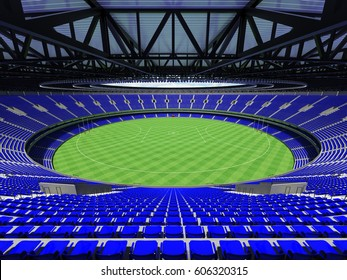 3D render of a round Australian rules football stadium with  blue seats and VIP boxes for fifty thousand fans
