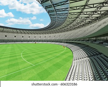 3D render of a round Australian rules football stadium with  white seats and VIP boxes for fifty thousand fans