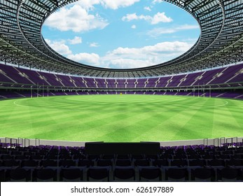 3D render of a round Australian rules football stadium with  purple seats and VIP boxes for fifty thousand fans