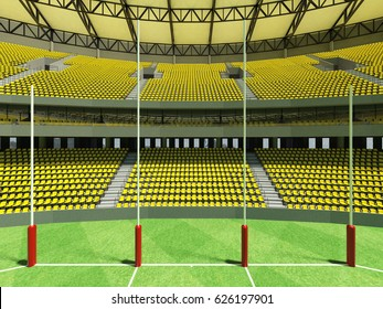 3D render of a round Australian rules football stadium with  yellow seats and VIP boxes for fifty thousand fans