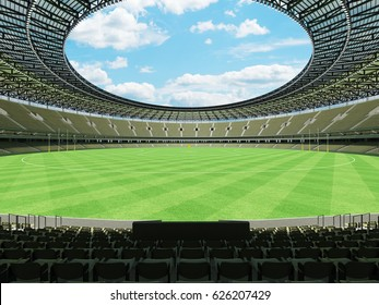 3D render of a round Australian rules football stadium with  green gray seats and VIP boxes for fifty thousand fans