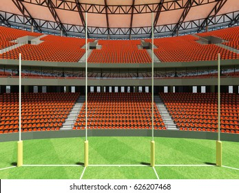 3D render of a round Australian rules football stadium with  orange seats and VIP boxes for fifty thousand fans