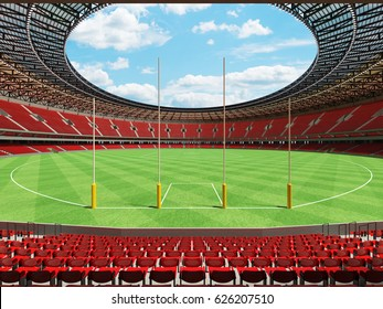 3D render of a round Australian rules football stadium with  red seats and VIP boxes for fifty thousand fans