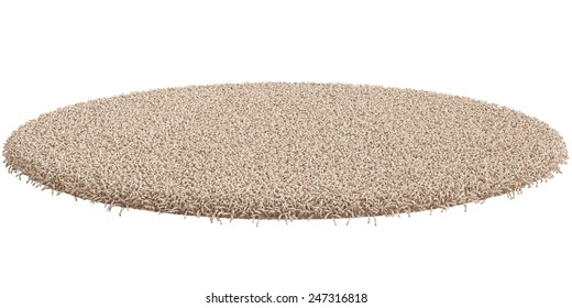 3d render of round carpet isolated on white background
