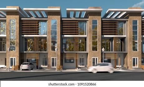 3d render of a row house facade