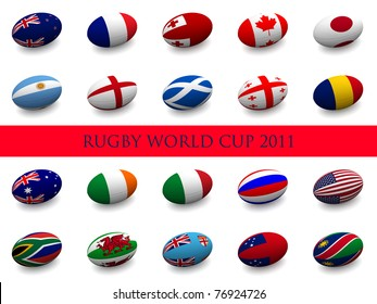3D Render of a rugby ball with the national flag of each of the 20 participating nations in the rugby world cup.