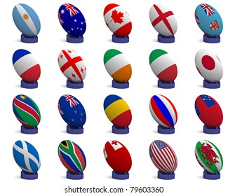 3D Render of a rugby ball with the national flag of each of the 20 participating nations in the rugby world cup, on a kicking tee