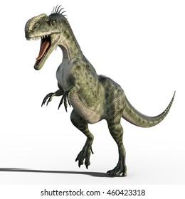 3d render of running dinosaur isolated
