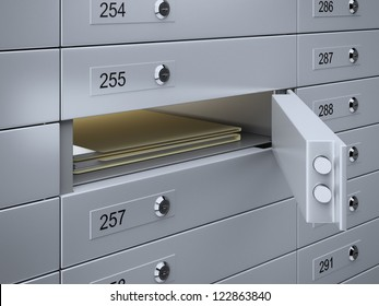 3d render of Safety deposit boxes with documents