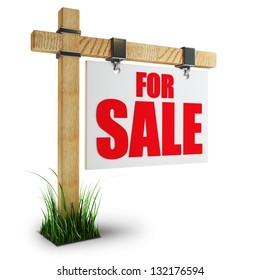 3d render For sale sign Isolated on white background High resolution