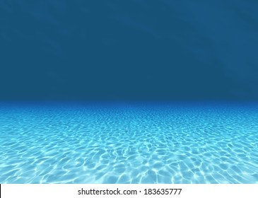 3d render of Sandy bottom, blue and surface underwater