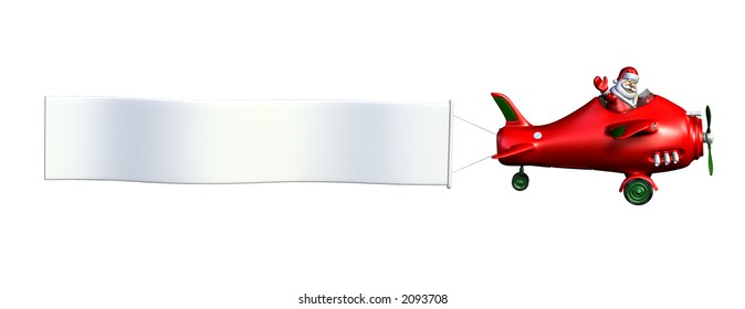 3D render of Santa Claus flying a plane with a blank banner attached.