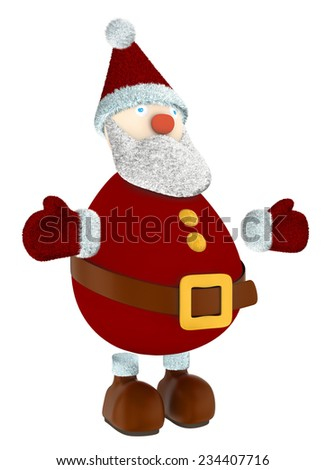 3D render of Santa Claus standing isolated on white