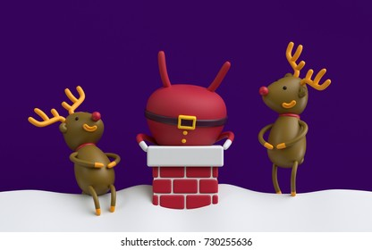 3d render, Santa Claus stuck upside down in the red brick chimney, rein deers laughing on the roof, funny Christmas card