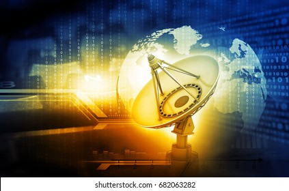 3d render of Satellite dish with global on digital  background