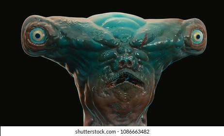 3d render of sci fi sea alien underwater shark monster creature