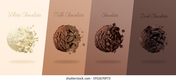 3D render. Scoops of ice cream with four Types of Chocolate different. white chocolate, milk chocolate and dark chocolate
