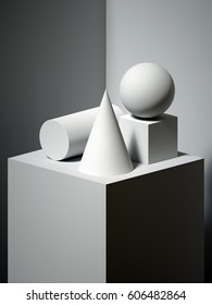 3d render, sculptural primitive shapes, still life, simple art blocks, cone, ball, cylinder, cube, classical art, dramatic light and shadow