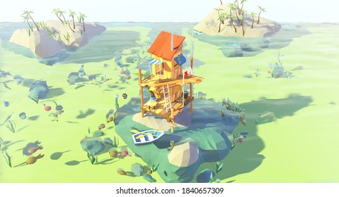 3D render of Sea shack at corral riff, travel and holiday concept low polly illustration.