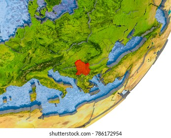 3D render of Serbia on political globe with embossed countries with real land surface and water in place of ocean. 3D illustration. Elements of this image furnished by NASA.