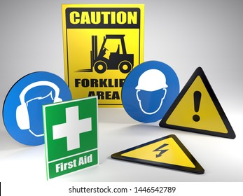 3D render of set of basic Safety at work warning and information signs on white background