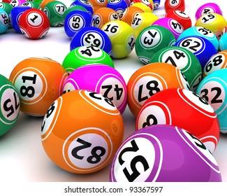 3d render of a set of colored bingo balls