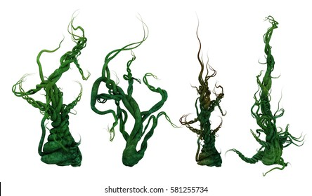3D render of a set of plants of heavy twisted vines.