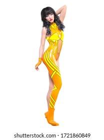 3D render sexy anime japanese girl.Futuristic extravagant latex clothing woman.Comic cosplay hero.Cartoon, comics, manga illustration.Conceptual fashion art.Isolate
