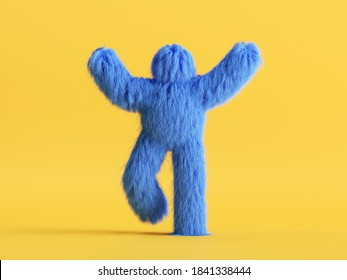 3d render, shaggy cartoon character, furry scary halloween monster, hairy beast walking. Unknown blue funny toy isolated on yellow background