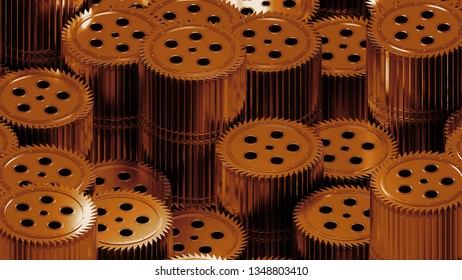 3d render of sharp cogwheel elements. Stack of several reflective mechanical gears.