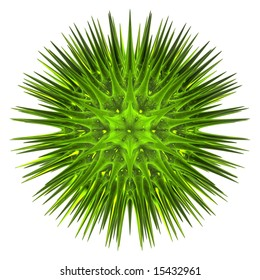 3d render of a sharp green spiky virus that may be used for logo